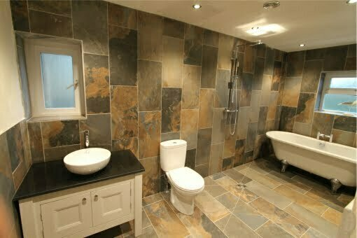 Open wetroom with large tiles